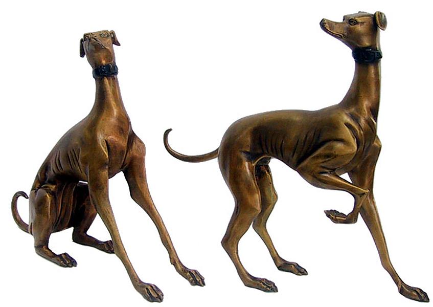 Bronze Whippet Dog Statues - DD 1041
