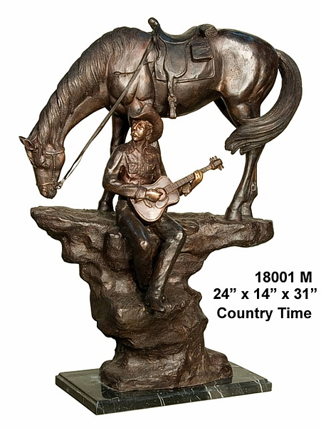 Bronze Cowboy Playing Guitar Statue - AF 18001M