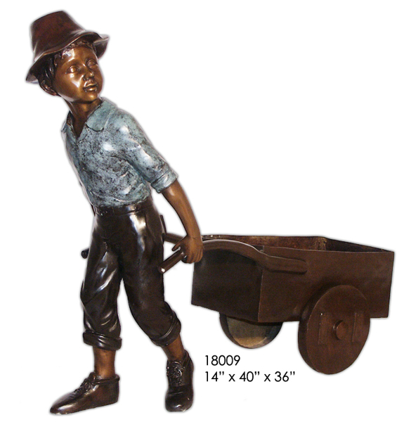 Bronze Boy Wheelbarrow Statues