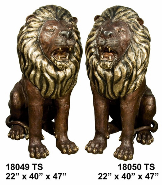 Growling Bronze Lion Statues - AF 18049-50TS