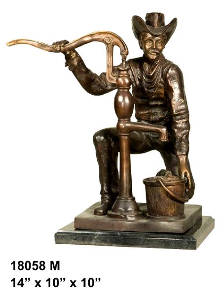 Bronze Cowboy Pumping Water Statue - AF 18058M