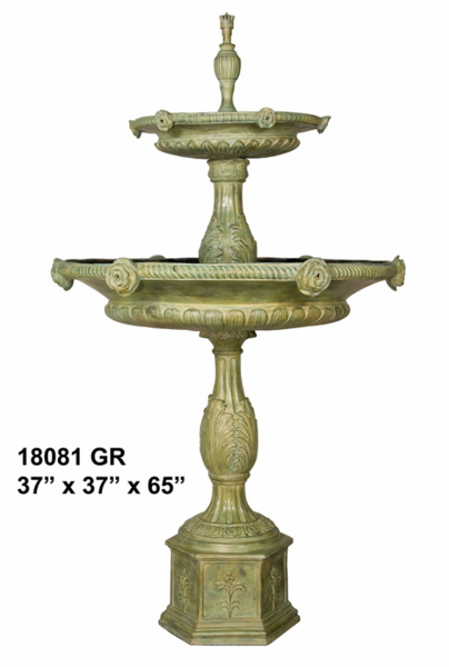 Rose Tiered Bronze Fountain - AF 18081GR