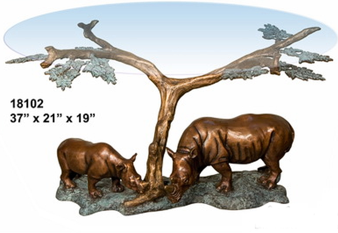 Bronze Rhinoceros Table