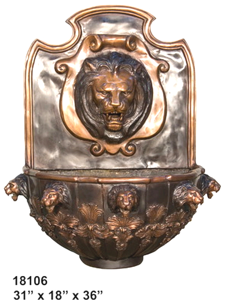 Bronze Lion Wall Fountain - AF 18106