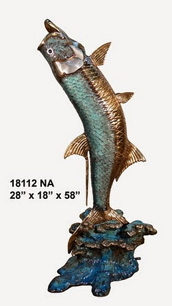 Bronze Jumping Tarpon Statues - AF 18112NA-S
