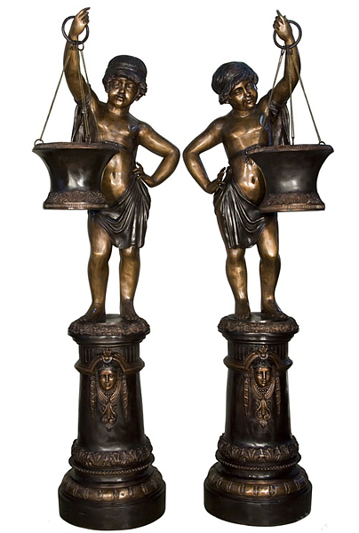 Bronze Boys Planter Statues