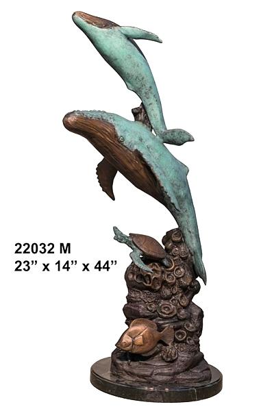 Bronze Humpback Whale & Calf Statue - AF 22032 M