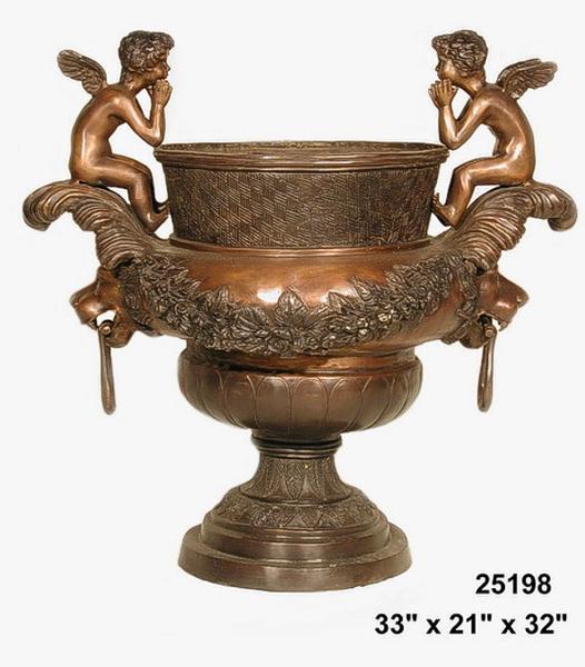 Bronze Cherub Urns