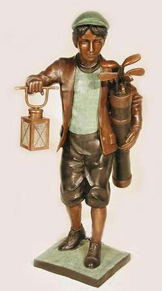 Bronze Caddie Lantern Statue - AF 25603