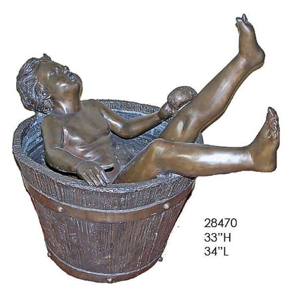 Bronze in Boy Tub Statue - AF 28470-1