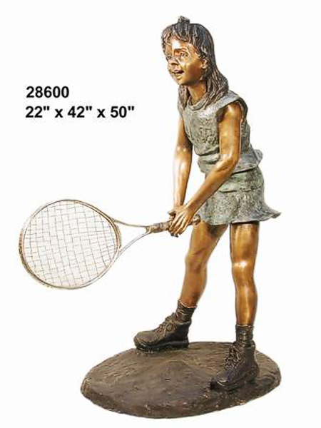Bronze Girl Playing Tennis Statue