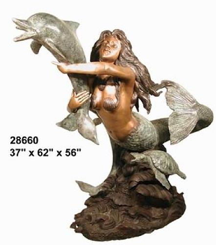 Bronze Mermaid Statue - AF 28660-S