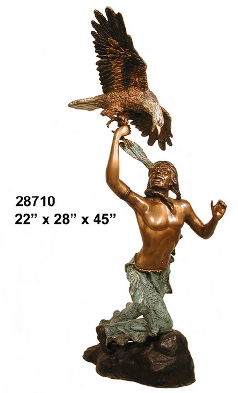 Bronze Indian Warrior Statues - AF 28710