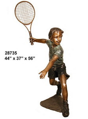 Bronze Boy Tennis Player Statue