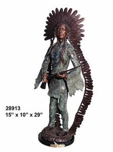 Bronze Indian Rifle Statue - AF 28913M