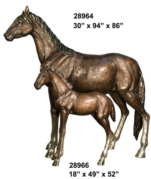 Bronze Mare & Foal Horse Statues - AF 28964-66