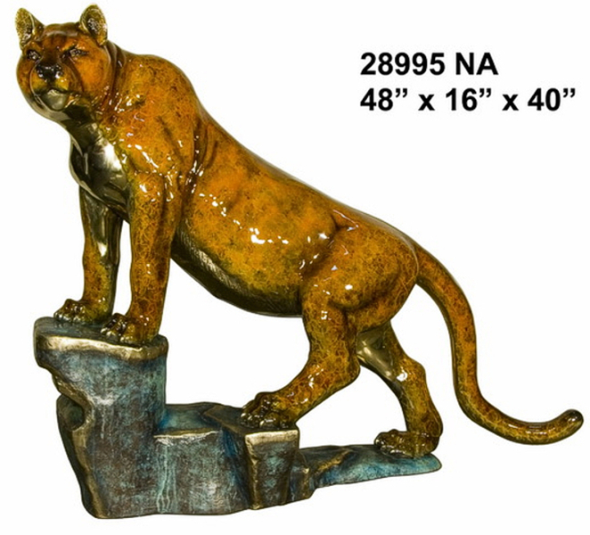 Bronze Puma on Rock Statue - AF 28995NA