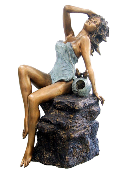 Bronze Lady on Rock Fountain - AF 29355