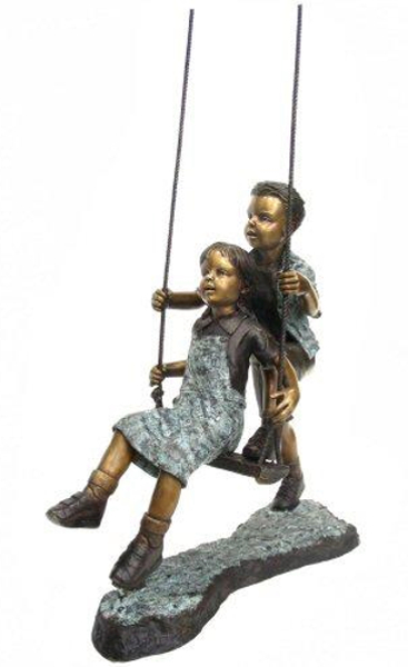 Bronze Children Swing Statue - AF 29410