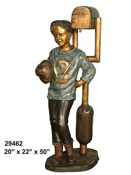 Bronze Football Player Mailbox