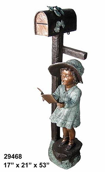 Bronze Girl Reading Mailbox