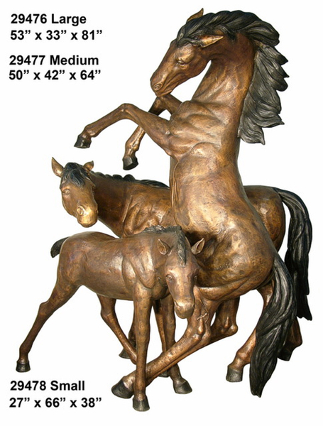 Bronze Stallion, Mare & Foal Statues - AF 29476-78