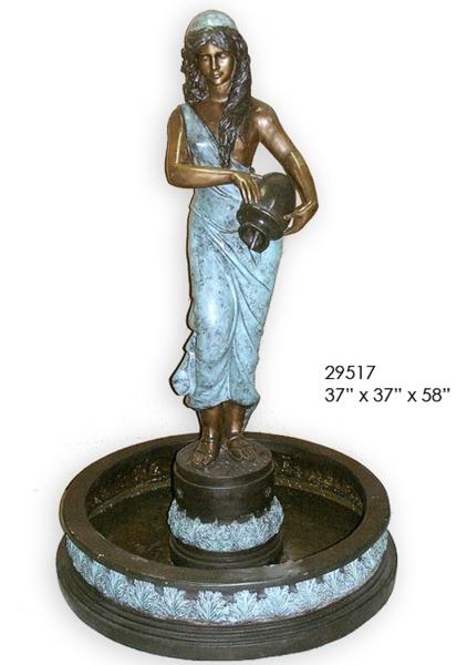 Bronze Maiden in Pond Fountain - AF 29517