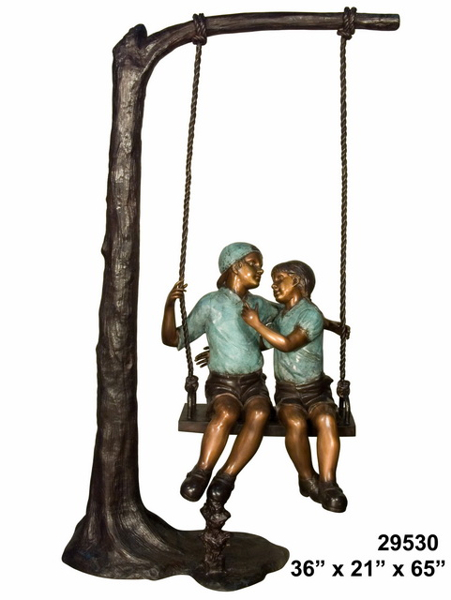 Bronze Puppy Love on Swing Statue - AF 29530