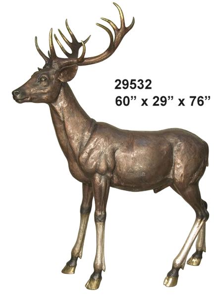 Bronze Deer Buck Statues - AF 29532