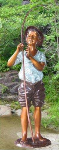 Bronze Boy Fishing Statue - KT 410-8