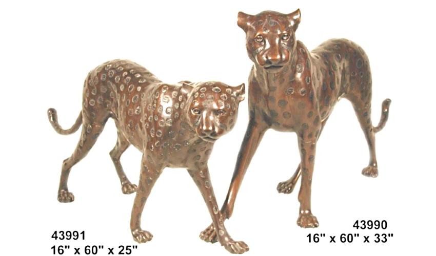 Bronze Cheetah Statues - AF 43990-91
