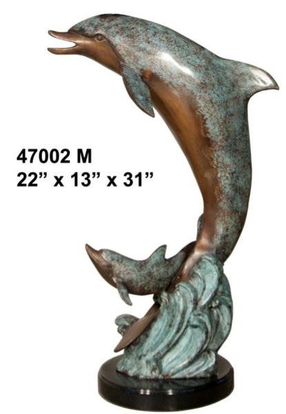 Bronze Dolphin Statue - AF 47002 M