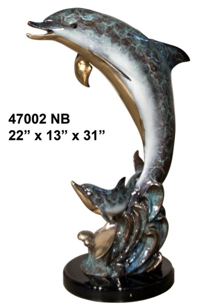Bronze Dolphin Statues - AF 47002 NB