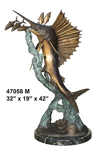 Bronze Sailfish Chasing Bait Fish Statue - AF 47058M