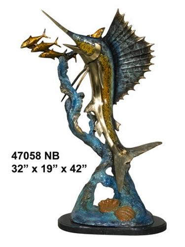 Sailfish Chasing Bait Fish Bronze Statue - AF 47058NB