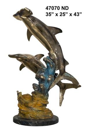 Bronze Hammerhead Shark Statue - AF 47070ND