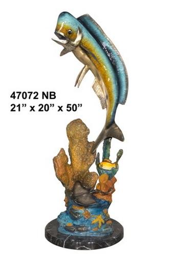 Bronze Jumping Dorado Statues - AF 47072NB