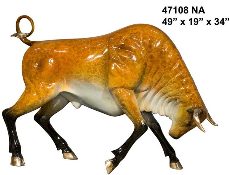 Bronze Charging Bull Statue - AF 47108 NA