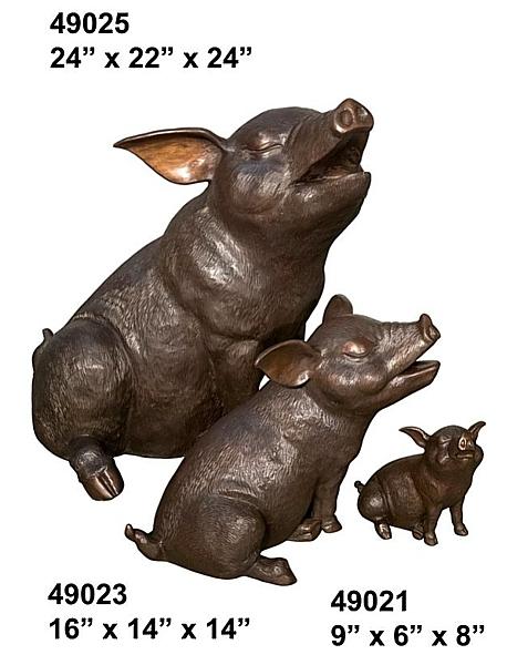 Bronze Pig Family Statues - AF 49021-23-25
