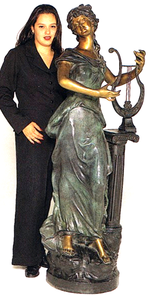 Bronze Girl Harp Statue - ASB 498