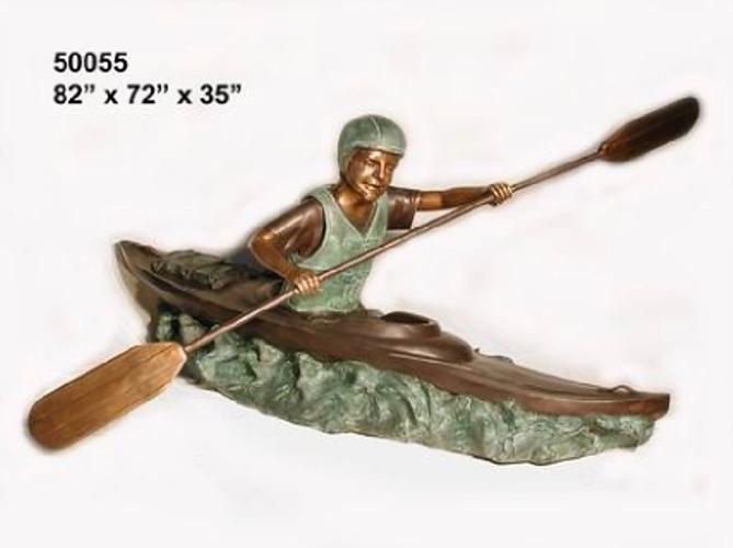 Bronze Boy in Canoe Statues