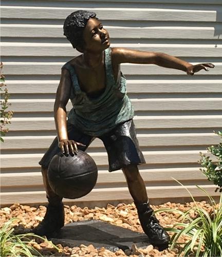 Bronze Boy Basketball Player Statue