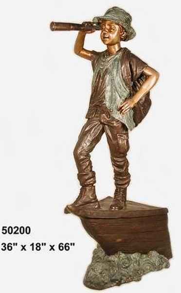 Bronze Boy with Telescope Statue - AF 50200
