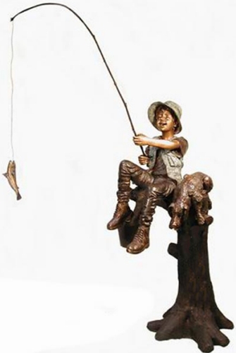 Bronze Boy & Dog Fishing Statue - AF 50205