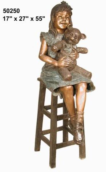 Bronze Girl Teddy Bear Statue - AF 50250