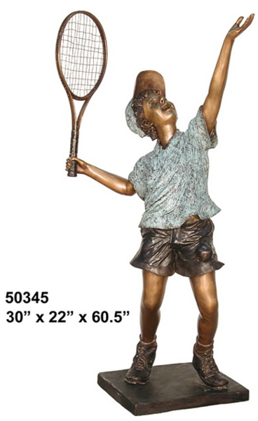 Boy Tennis Player Serving Ace Bronze Statue - AF 50345
