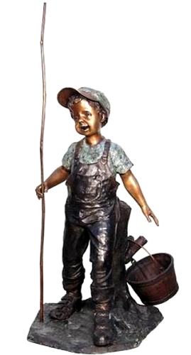 Bronze Boy Fishing Statue - AF 50396