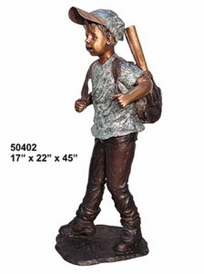 Bronze Boy with Backpack Statue