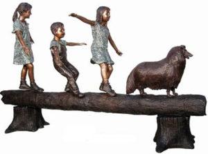 Bronze Children on Log Statues