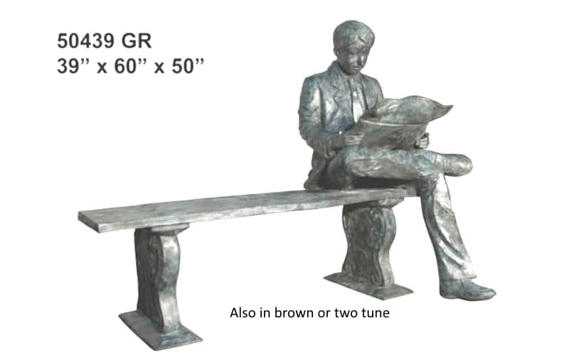 Bronze Man Reading on Bench Statue - AF 50439GR